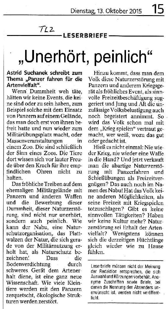 Unerhört, peinlich - TLZ v. 13.10.2015-001