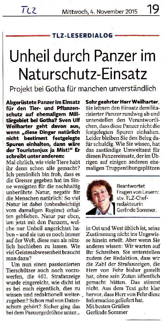 Unheil durch Panzer im im Naturschutz-Einsatz - TLZ v. 04.11.2015-001