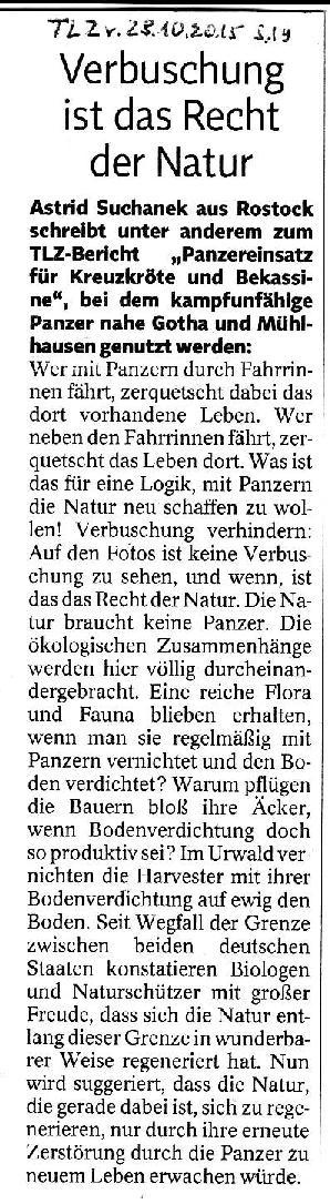 Verbuschung ist das Recht der Natur - TLZ v. 28.10.2015-001