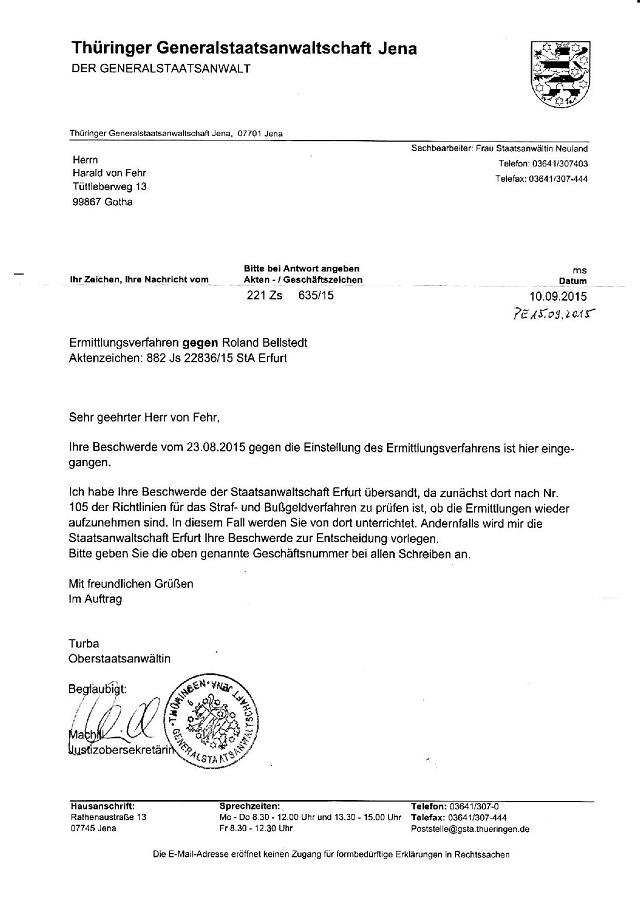 Zwischenantwort d. GStA Jena v. 10.09.2015-001 - kl.