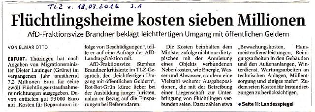 Flüchtlingsheime kosten sieben Millionen - TLZ v. 18.03.2016.jpg - kl.