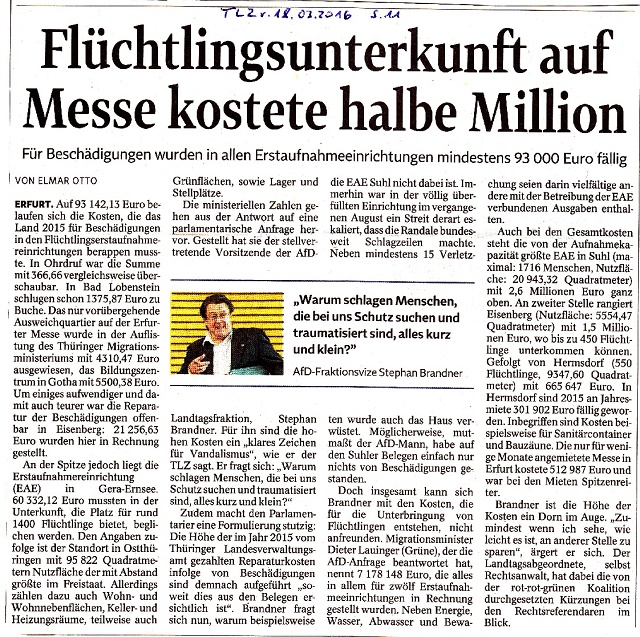 Flüchtlingsunterkunft auf Messe kostete halbe Million - TLZ v. 18.03.2016.jpg - kl.