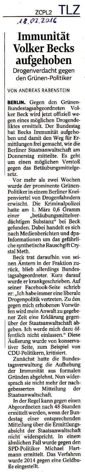 Immunität Volker Becks aufgehoben - TLZ v. 18.03.2016