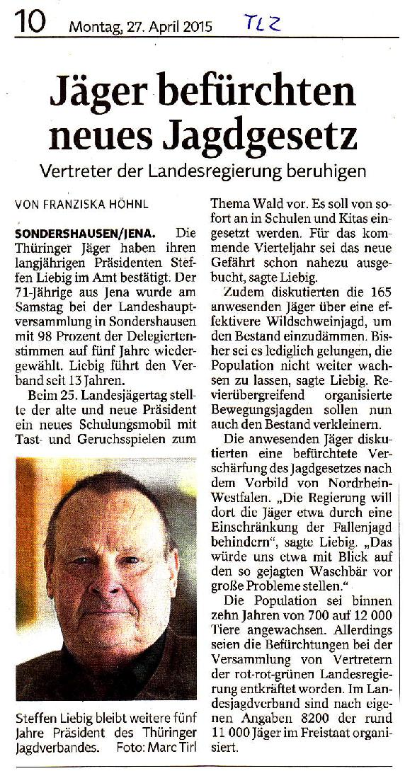 Jäger befürchten neues Jagdgesetz - TLZ v. 27.04.2015-001
