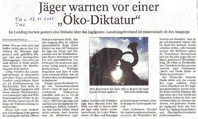 Jäger warnen vor einer Öko-Diktatur - TA v. 12.11.2015-001.jpg- kl.