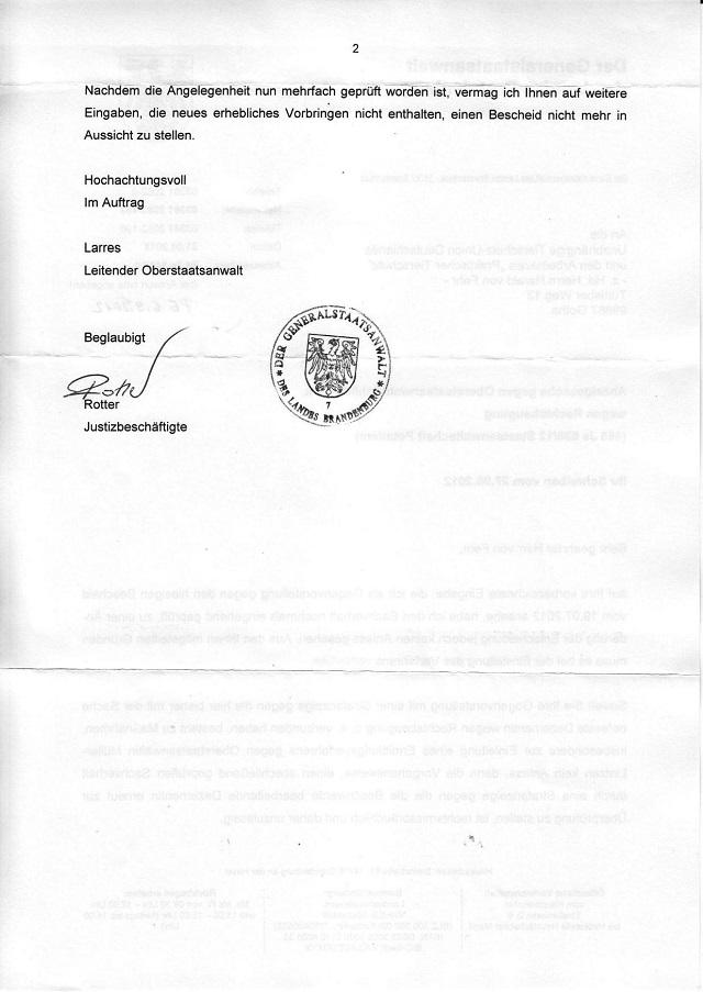 Beschwerdeverweigerung d. GStA Brandenburg v. 31.08.2012_02.jpg - kl.