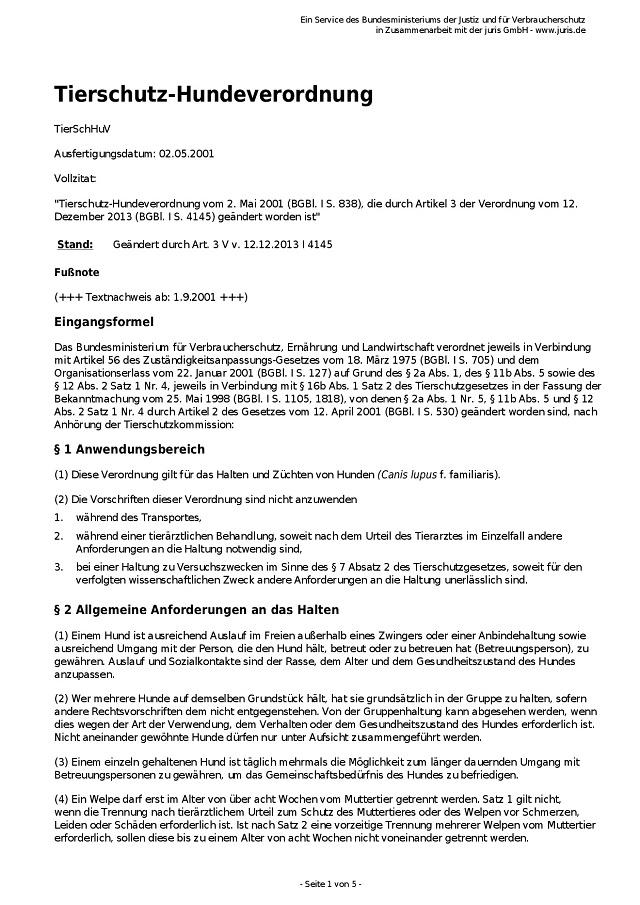 Tierschutz-Hundeverordnung vom 2.5.2001-001 - kl.