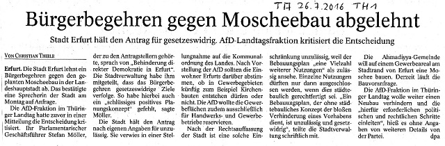 Bürgerbegehren gegen Moscheebau abgelehnt - TA v. 26.07.2016 - kl.